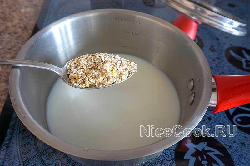 Каша 5 злаков на молоке - всыпаем крупу