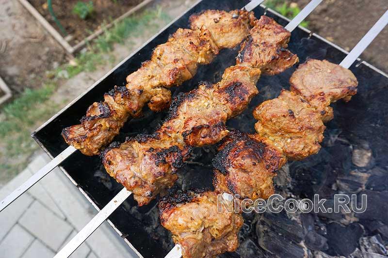 Шашлык из свинины с киви - готовый шашлык