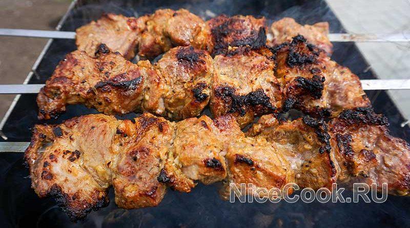 Шашлык из свинины с киви - пожаренное мясо