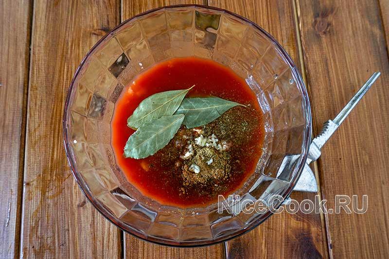 Шашлык из свинины с томатным маринадом - готовим маринад