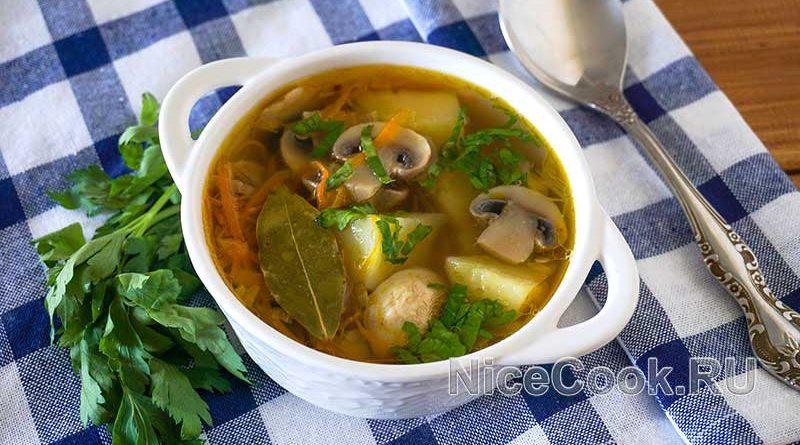 Грибной суп из шампиньонов - готовый суп